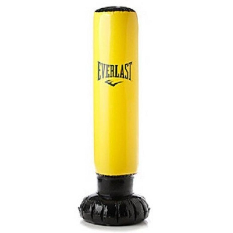 Black Everlast Everflex Free Standing Heavy Punch Bag with Resistance Bands One Size